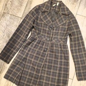 Susana gray plaid jacket size small womens